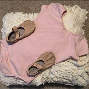 Capezio leotard and leather slippers